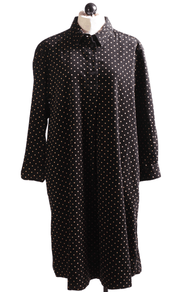 Polka Dot mini corduroy shirt dress by Two Danes in black with taupe dots.
