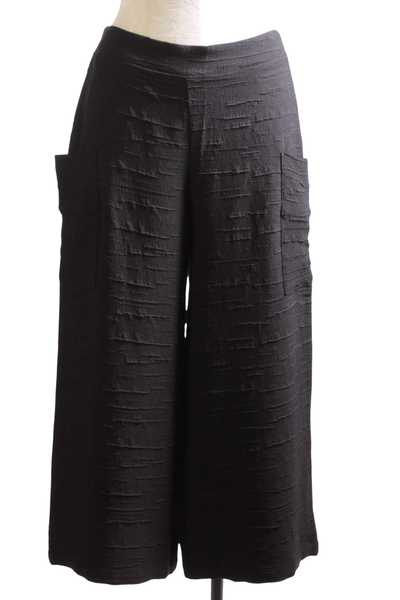 Black pucker cropped wide leg Sadie pant by Kozan with lower pockets on each side