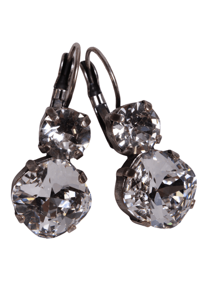 double clear Swarovski crystal drop earring with leverback