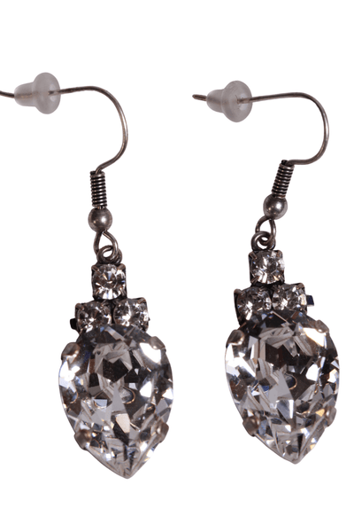 clear Swarovski crystal drop with 3 smaller crystals on top earrings with a hook back