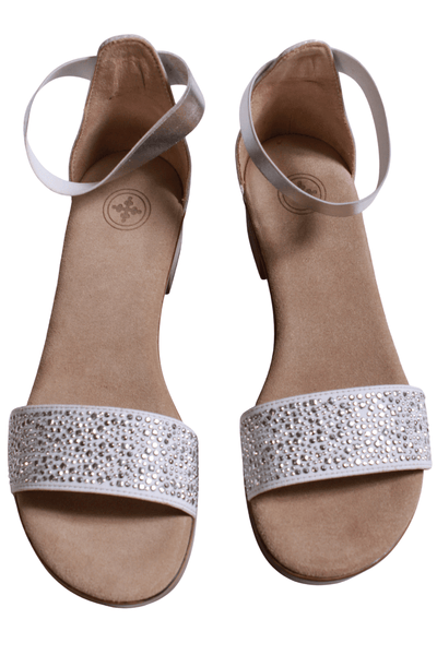 "silver sandal has a sparkled toe strap and a 1"" heel  with an elastic band ankle strap"