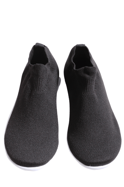 black Elastic pull on upper with a white rubber padded insole bottom