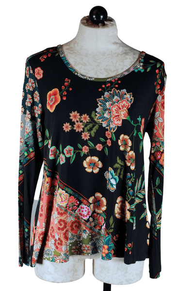 Long Sleeve Crew Swing Tee by Johnny Was in a gorgeous colorful floral knit print