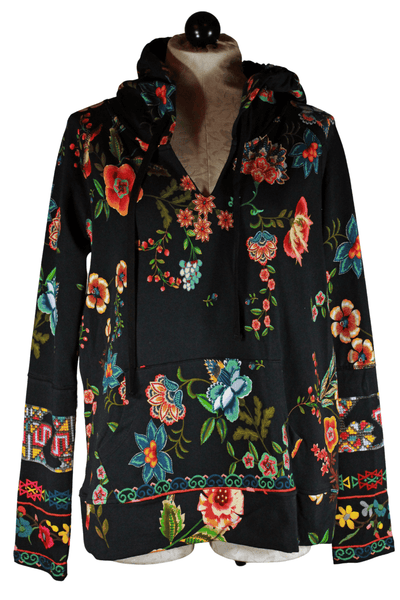 pullover hooded sweatshirt by Johnny Was with front pouch pocket in a gorgeous colorful floral knit print in autumn colors