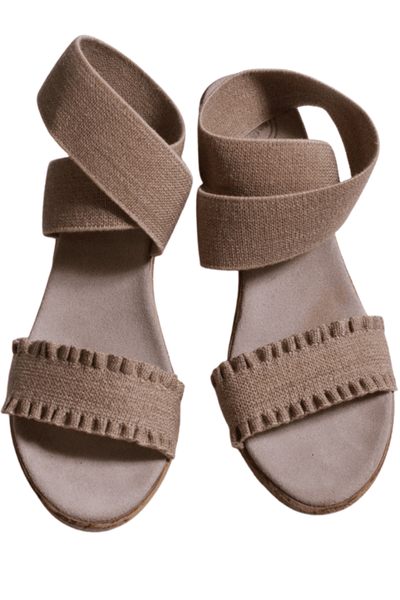 linen Ankle wrapped faux espadrille sandal with a beautiful ruffled strap across the toes