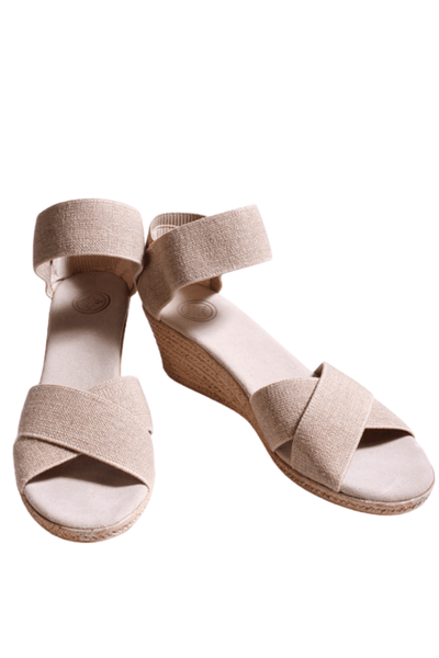 "linen sandal has a 2"" faux espadrille wedge bottom with a padded insole and elastic stretch upper"
