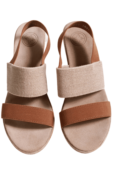 "2"" covered wedge faux espadrille heel with a padded insole and elastic stretch upper"