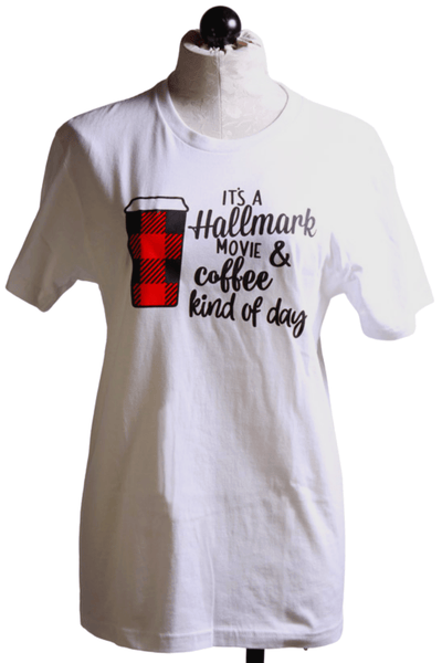 White Tee shirt with a Graphics of It's a Hallmark Movie and Coffee kind of day and a red and black plaid covered coffee cup
