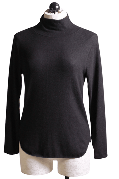 Black brushed mock neck top by Nally and Millie with a rounded hem