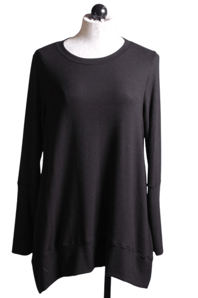 Black brushed cuff sleeve tunic by Nally and Millie with a banded bottom