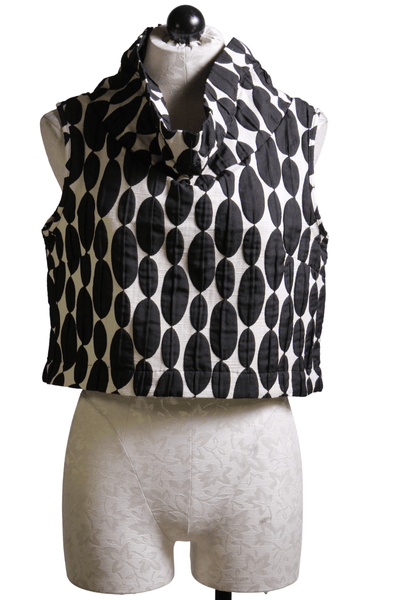 cropped sleeveless cowlneck Topper vest top by Kozan in a black and white geo oval drop pattern