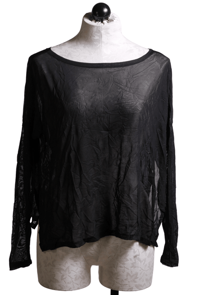 Basic long sleeve tee with side slits by Kozan in a sheer black crinkle fabric