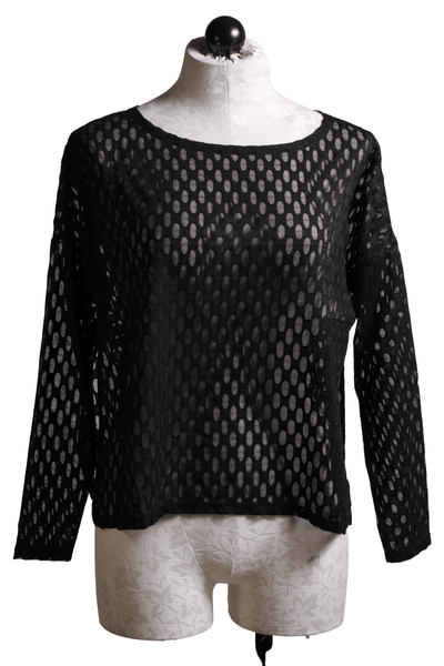 Sheer Black Mesh Long Sleeve Top by Kozan with a honeycomb bubble-like pattern