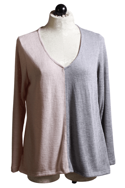 half and half blush and slate grey colorblock V neck top