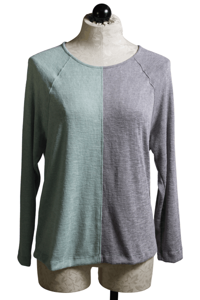 blue and grey colorblock raglan sleeve top