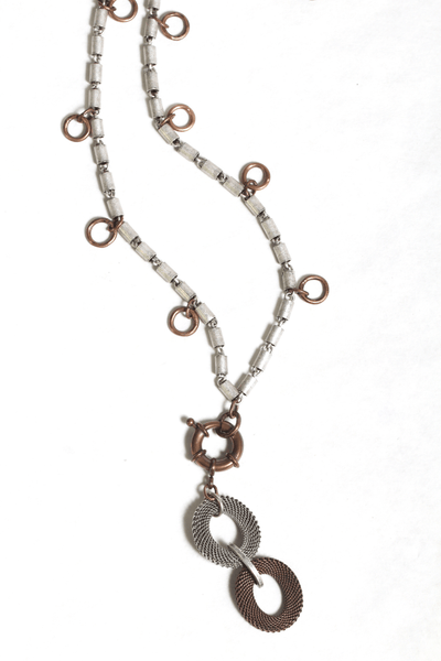 2 tone tubular chain necklace with rings