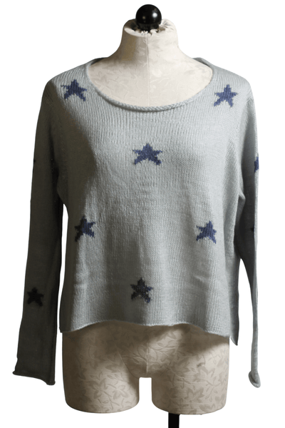 Quayside Gray sweater by Wooden Ships with mini Indigo colored stars