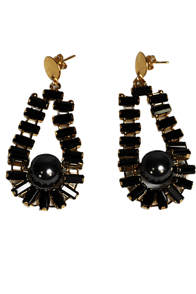 statement earring by Chan Luu is a post earring with tiny black faceted rectangular crystals in the shape of a teardrop with a black pearl at the drop