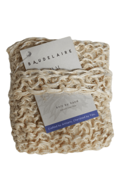 square shaped sisal body scrubber by Baudelaire
