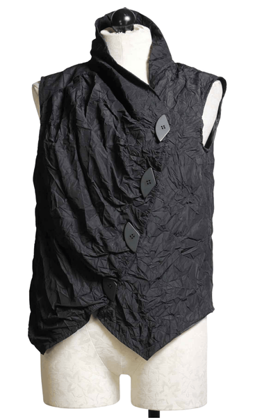 cropped black Amira Vest by Kozan in a crushed fabric with four off-side button front
