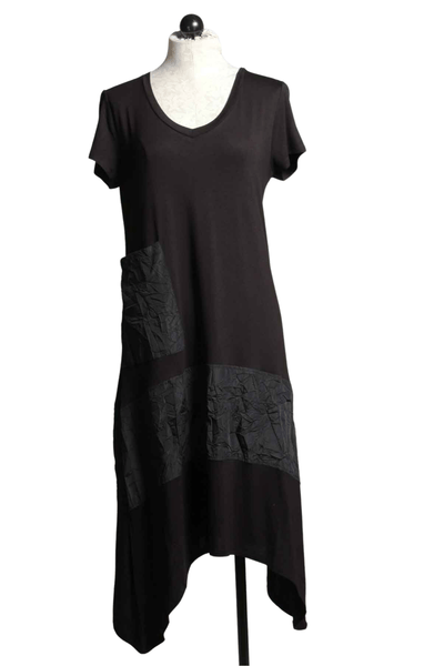 Black cotton blend short sleeve Josephina Dress by Kozan with high low hemline and a crush black stripe panel around the skirt and matching front pocket