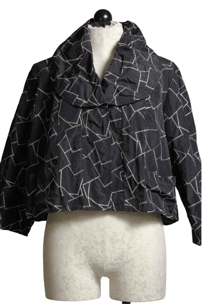 Aria cropped Jacket in crushed black zigzag fabric by Kozan