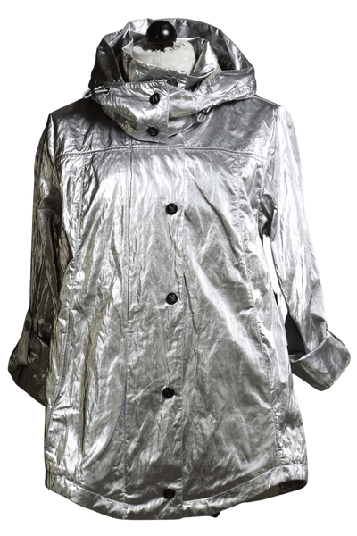Metallic Silver Jacket by Nikki Jones with a hidden hood inside the collar