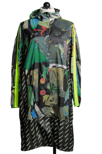 abstract print long lightweight jacket by JNBY features two fun prints and a neon green stripe down the arms