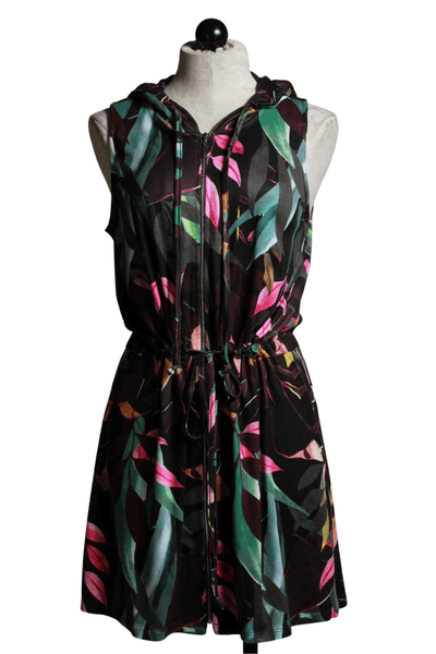 Sleeveless hooded Zip front dress by Melis Kozan in a colorful Tropical leafy print