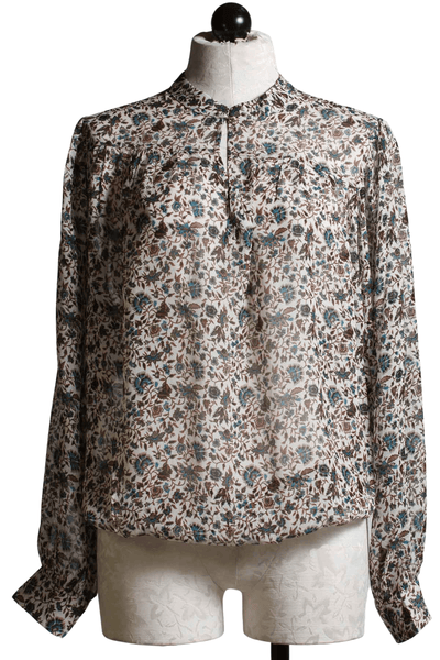 Semi-sheer ivory Flower Print Top with blue flowers