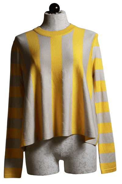 yellow and taupe vertical wide striped cropped flared sweater