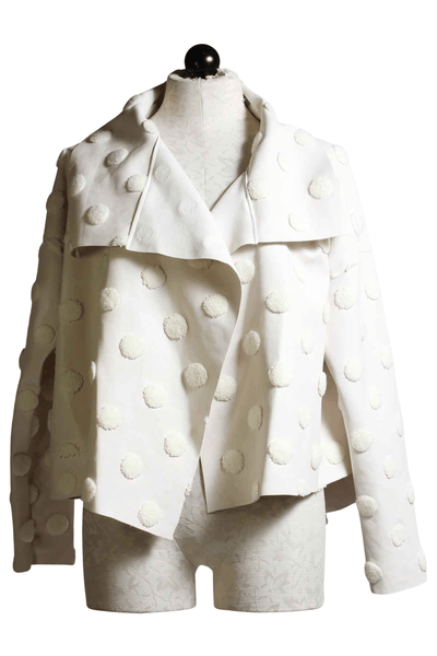 Vanilla Vegan leather cropped asymmetrical jacket with cream cotton dots