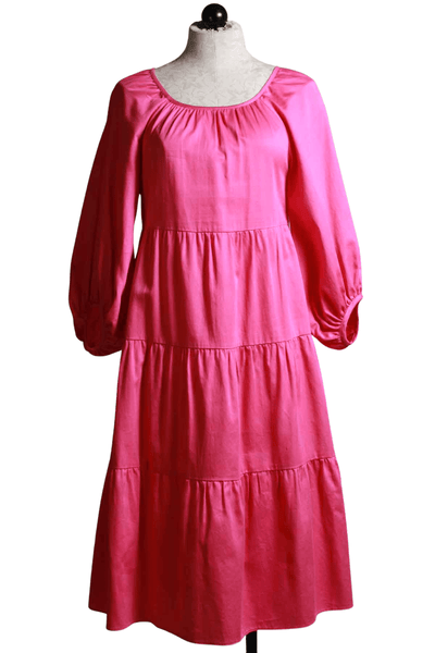 fuschia colored Peasant Style Cassia Dress