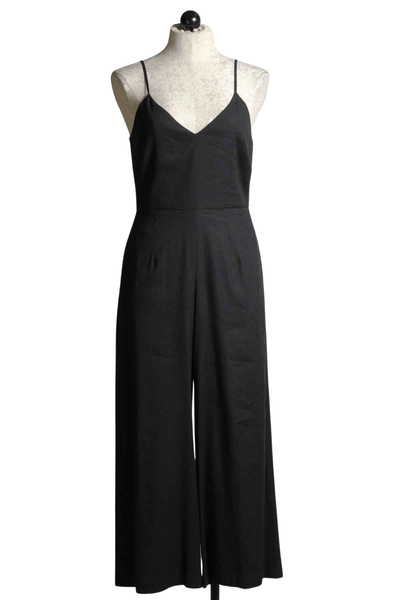 Black stretch linen blend spaghetti Strap cropped jumpsuit