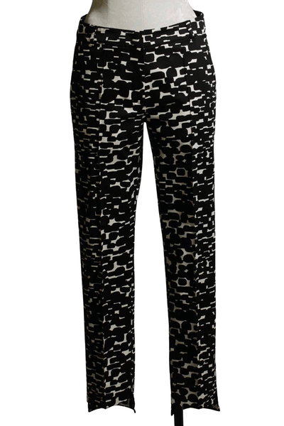 black and white mod print straight leg stretch pant