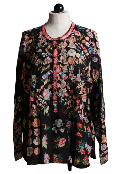 floral black embroidered henley style pullover Brigitte Blouse