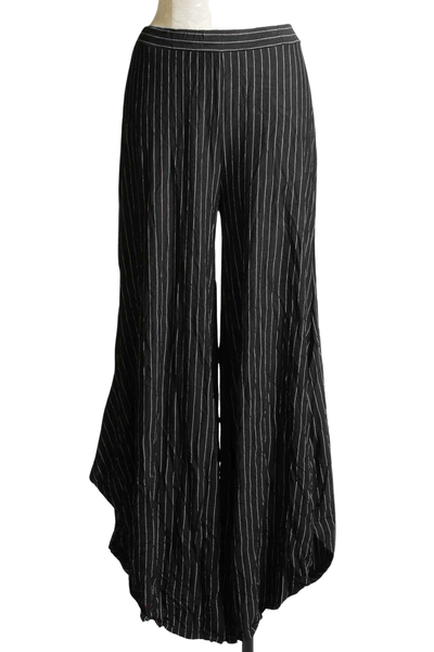 Pinstriped black and white crinkle fabric billow leg Dove pant by Kozan