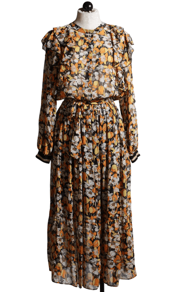 floral ruffle front Midi Dress in gold colors by Summum Woman.