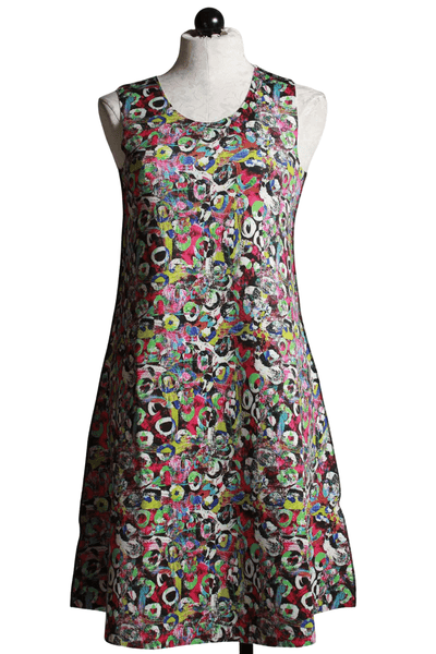 sleeveless multi colored swirl print reversible dress