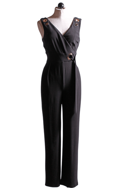 Black Sleeveless Jumpsuit with Grommets on the straps and belt
