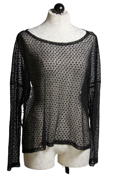 Black mesh loose fitting drop shoulder top with tiny black polka dots