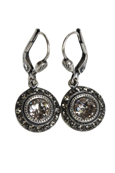 Small round silver earrings with a clear crystal center with tiny clear crystals circling it
