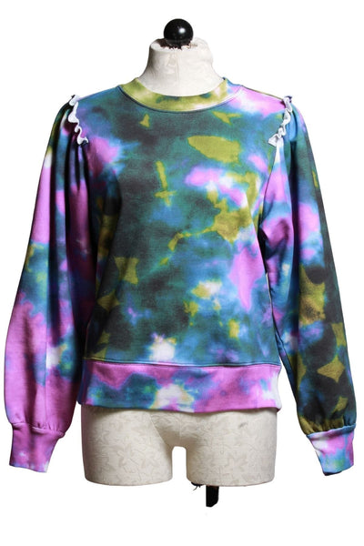 Lagoon colored Tie Dye sweatshirt with cute ruffle at the shoulder