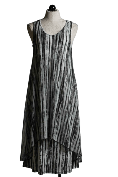 Long sleeveless striped Millie Dress by Kozan in the black and white crinkle mesh