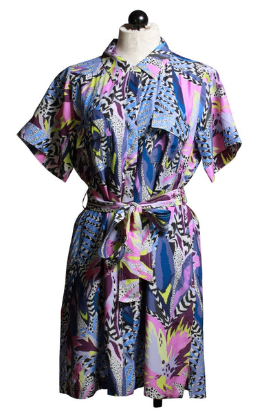 short sleeve belted Electric Jungle print shirt dress by Marie Oliver