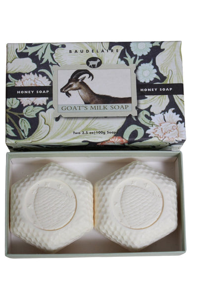 Gift Box Duo of Honey Goats Milk Hexagon shaped soap bars by Baudelaire