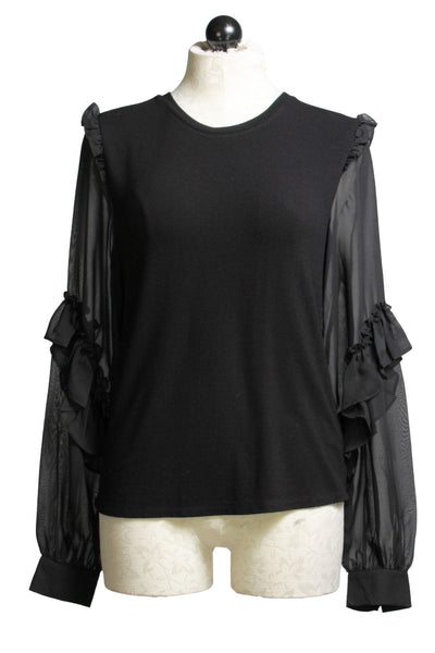 black Silky Ruffled Sleeve Top by Generation Love with knit body