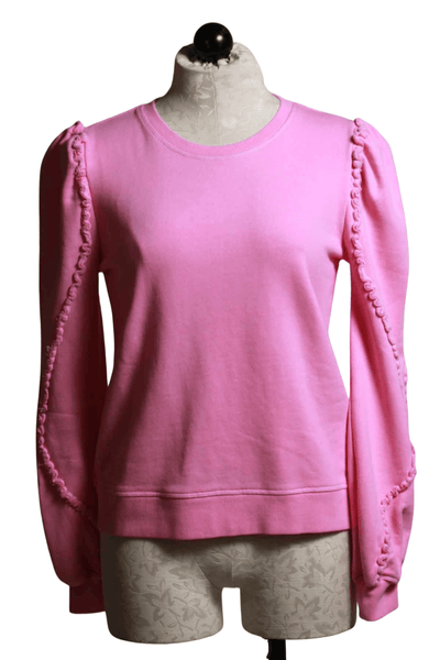 long sleeve pastel pink colored rolled round neck pullover