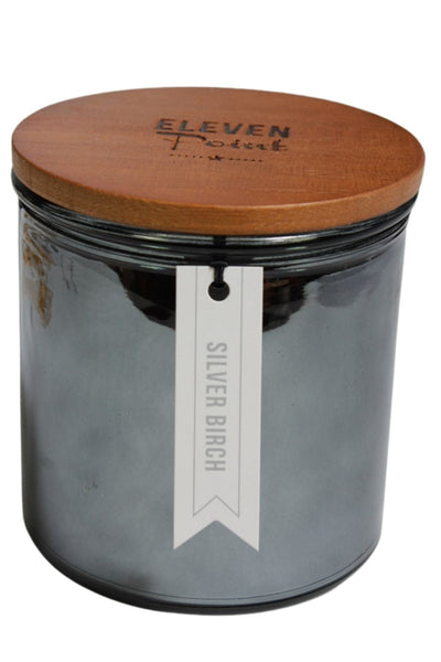 A Silver Birch fragrance candle in a large black mercury glass vessel by Eleven Point