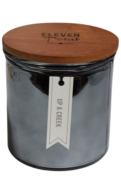 A Up A Creek Fragranced Candle by Eleven Point in a large silver metallic mercury glass vesse